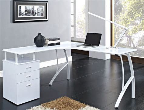 black or white corner computer desk home office pc table with 3 drawers l shaped ebay