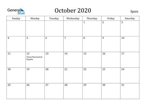 october  calendar spain