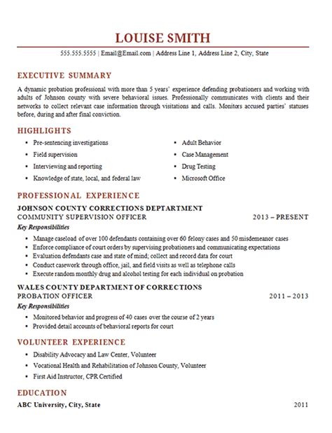 probation officer resume  corrections supervisor