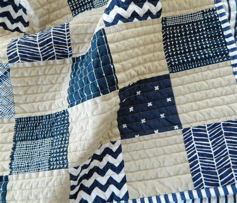 Navy White Quilt by S O T A K Handmade Navy Parchment Baby Quilt