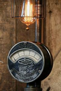 Steampunk Industrial Electrical Meter    Gauge Lamp Light    Chicago