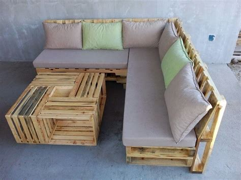 Pallet Settee by Wooden Pallet L Shape Sofa Set Easy Pallet Ideas
