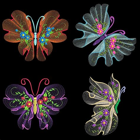 embroidery machine designs flutterby 2 30 machine embroidery designs azeb ebay