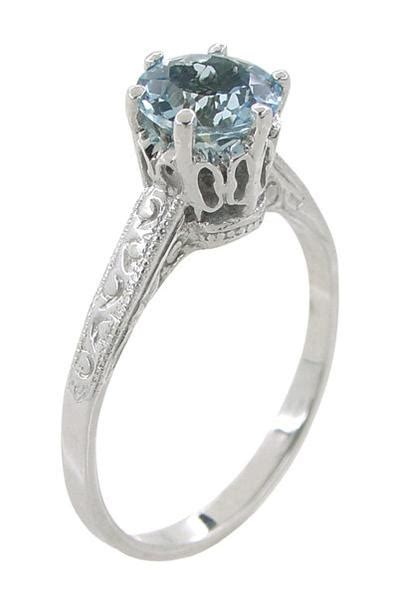 art deco  carat crown aquamarine engagement ring