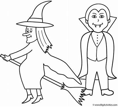 Halloween Vampire Coloring Witch Pages Witches Bigactivities
