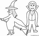 Coloring Halloween Vampire Witch Witches Pages Bigactivities Happy sketch template