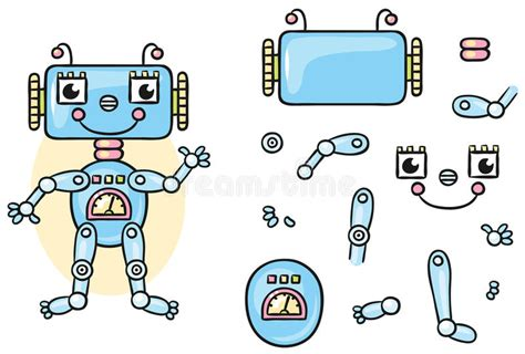 robot body parts  kids  put  stock vector