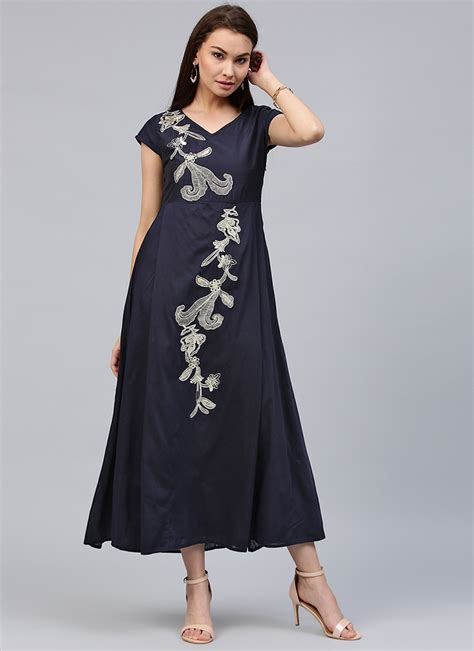 buy navy blue cotton rayon dress printed dresses