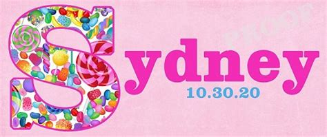monogram initial   candy pattern candy buffet sign  banner