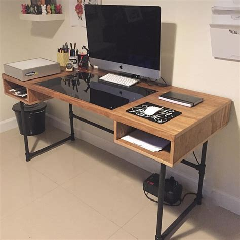 Home Desk Design Ideas by Industrial Design Desk With Steel Pipe Legs And An
