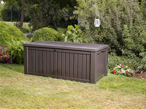 keter 150 gallon deck box keter rockwood plastic deck storage container
