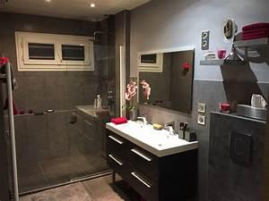 avant apres salle de bain gris et rose fushia douche a l With salle de bain gris et fushia