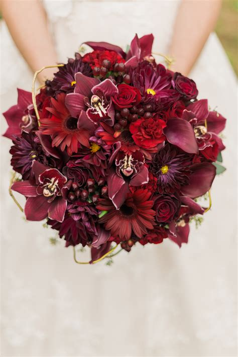 Beautiful Wedding Bouquet Comprised Of Red Roses Red