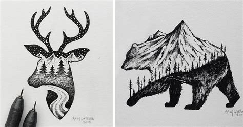 Abstract Black And White Animal Drawings by Miniature Hybrid Illustrations Of Animals Combined