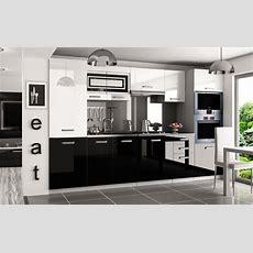 Kaufexpert  Küchenzeile Moderno Weiß Hochglanz Schwarz
