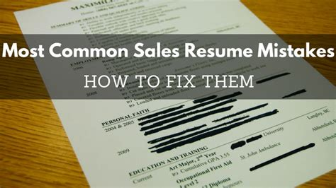 common sales resume mistakes