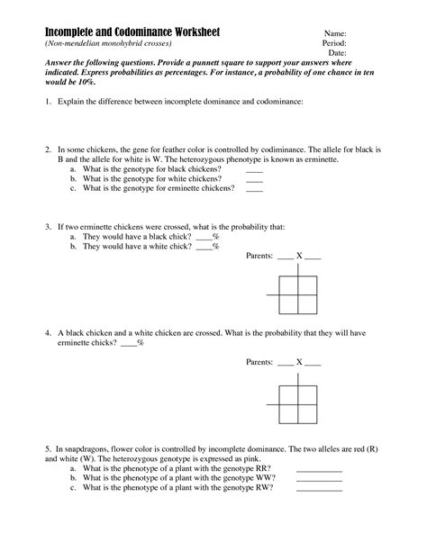 incomplete dominance and codominance worksheet 14 best images of genetics problems worksheet with answer genetics practice problems