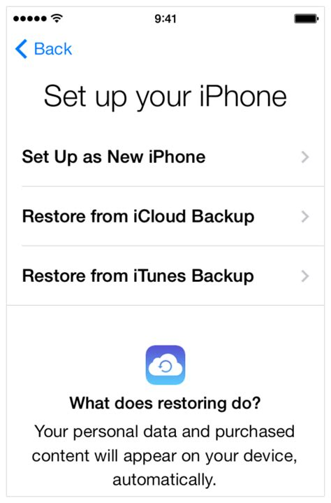setting up new iphone restore an iphone from backup