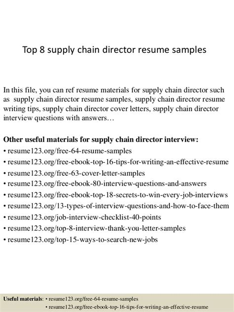 Supply Chain Director Resume Exle by Top 8 Supply Chain Director Resume Sles