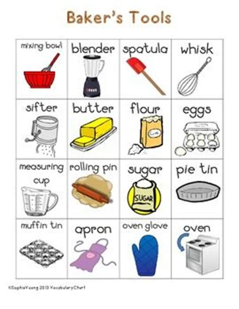 Kitchen Items Vocab by Baker S Themed Vocabulary Word Chart Writing Station