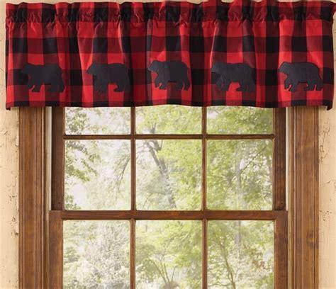 "Buffalo Check Bear Curtain Valance 60"" x 14"""