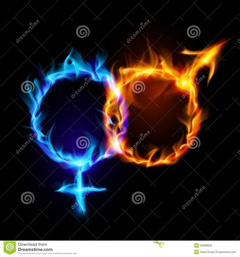 Mars And Venus Fire Symbols. Stock Vector - Illustration ...