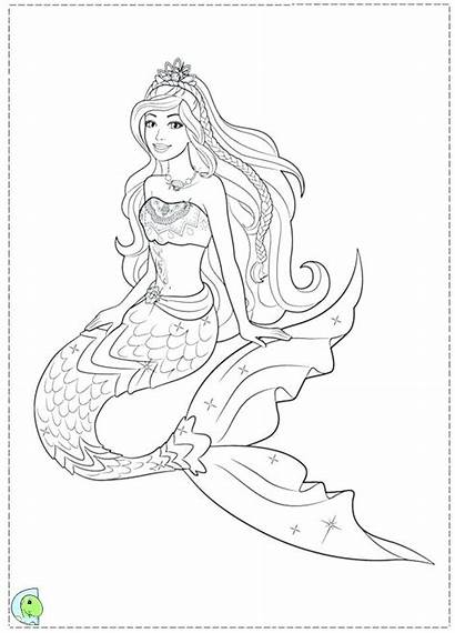 Mermaid Coloring Pages Realistic Barbie Drawing Easy