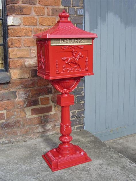 Red Free Standing Post Box Cast Iron Post Boxes