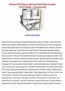 Bobcat 873 Repair Manual Skid Steer Loader 51 By