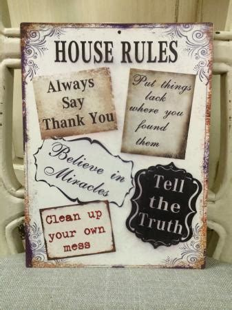 shabby chic house signs shabby chic house rules metal tin sign
