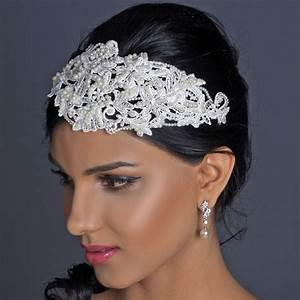 Pearl Rhinestone Russian Tulle Cap Headband Elegant