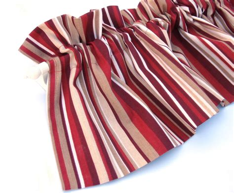 red valance curtain red and cream stripes 43 kitchen