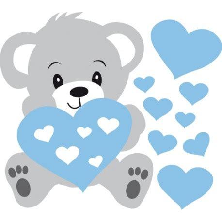 porte pour chambre stickers nounours gris et coeurs bleus pour bébé garçon