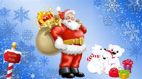santa claus north pole gifts  polar bears desktop hd