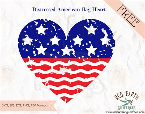 distressed american flag heart fourth  julyth  july  svg eps  dxf png