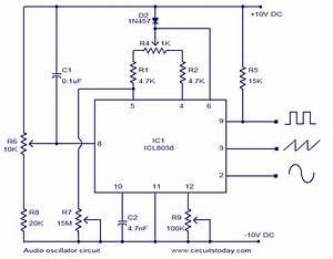 Audio Oscillator Circuit Based On Icl8038  Square