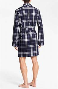 burberry check robe in blue for men navy lyst With robe bébé burberry