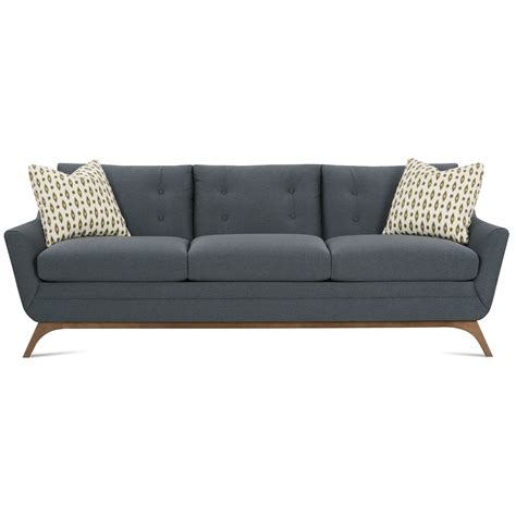 Contemporary Sofa Company by Rowe Simon Contemporary Sofa With Flared Wood Legs And