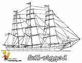 Coloring Pages Ships Tall Ship Boats Rigged Boat Sailing Yescoloring Ocean Print Sky Colouring Boys Vessels Navy Sheets Power Sharp sketch template
