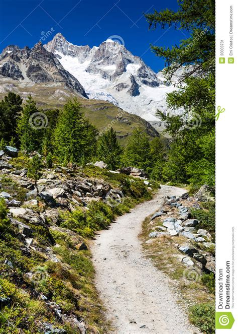 Direction Signs Alpine Hikes Alps Switzerland Stock Photo Hiking Trail In Switzerland Alps Stock Image Image Of