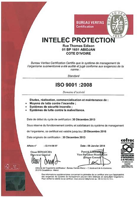 bureau veritas formation intelec protection certifications