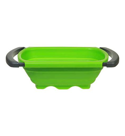 collapsible the sink colander collapsible sink colander green in strainers