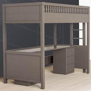 Lit Avec Bureau : lit mezzanine quarr avec bureau rabattable quax marques ~ Teatrodelosmanantiales.com Idées de Décoration