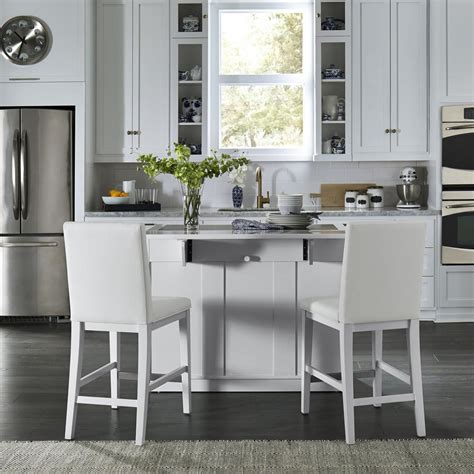 white kitchen with island home styles linear white kitchen island and 2 bar stools