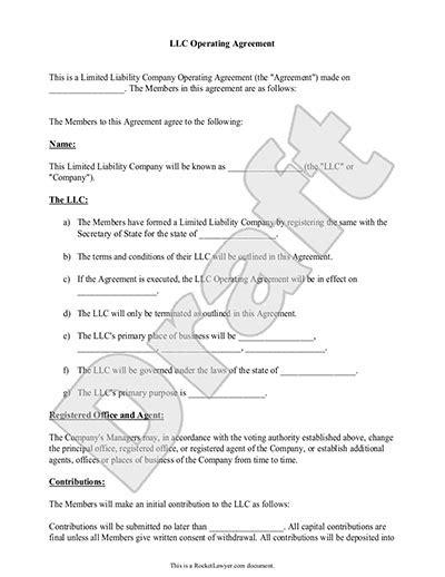 simple llc operating agreement template  printable