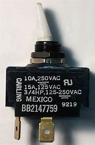 Momentary  White  Toggle Switch 15a   125vac  2  Terminal