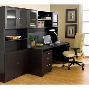 The, Ergo, Office, Desk, With, Hutch, And, Bookcase