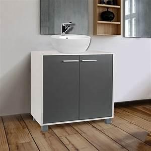 Meuble Salle De Bain Sous Lavabo : meuble sous lavabo gris pour vasque de salle de bain ~ Farleysfitness.com Idées de Décoration