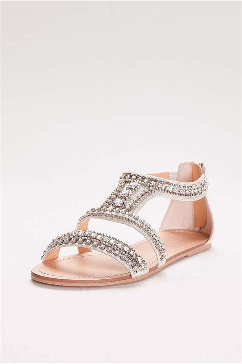 embellished peep toe flats davids bridal