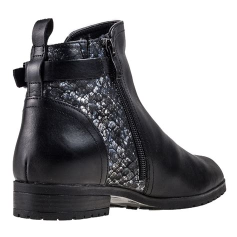 Caprice Buckle Chelsea Boot Womens Ankle Boots in Black